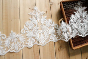 23cm Width Ivory Floral Corded Embroidery Lace Gown Bridal Apron Lace Wedding Veils Dress Decor by 1 Yard