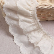 1yard Broderie Anglaise gathered cotton eyelet lace trim 7.5cm YH1464a