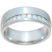 1/4 Carat T.G.W. Round-Cut CZ Sterling Silver Venetian Finish 6.5mm Wedding Band