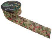 Wired Ribbon - Holly, Pine Cones, Berries - 6.4cm x 50 Yards