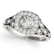 Vintage Style Halo Diamond Promise Ring 0.27 tcw.