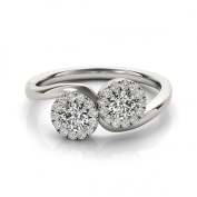 Duo Diamond Halo Engagement or Promise Ring, 0.7tcw.