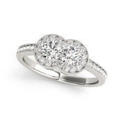 Vintage Style Duo Halo Promise Ring 0.78 tcw.