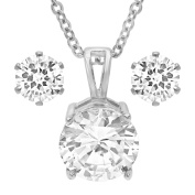 HMY jewellery Silvertoned Simulated Diamond Earring and Pendant Set