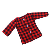 MonkeyJack Red Checked Long Sleeve T-shirt for 46cm American Girl Our Generation Doll
