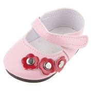 PinkFamily Pink Mary Jane Flat Shoes with Flowers for 46cm American Girl AG Gotz Dolls