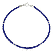 STERLING SILVER 23cm DARK BLUE AND SILVER BEADED ANKLET