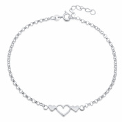 Sterling Essentials Sterling Silver 23cm Triple Hearts Anklet
