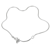 Sterling Essentials Sterling Silver 23cm plus 2.5cm extension Snake Chain with Heart Charm Anklet