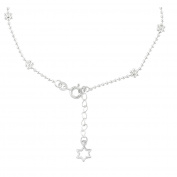 Sterling Essentials Sterling Silver 23cm plus 2.5cm extension Heart Charm and Flower Bead Anklet