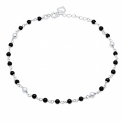 Sterling Essentials Sterling Silver 23cm plus 2.5cm extension Black Onyx Anklet