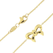 14k Yellow Gold Bow Adjustable Anklet - 23cm - 25cm