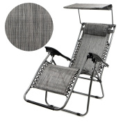 Patio Zero Gravity Chair Folding Lounge with Canopy Shade & Cup Holder Outdoor Yard Beach - Grey