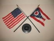Ohio State w/ USA America American Flag 10cm x 15cm Desk Set Table Stick Black Base