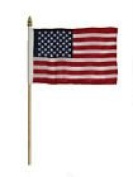 USA American Flag 10cm x 15cm Desk Set Table Wooden Stick Gold Base