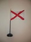 Alabama State Flag 10cm x 15cm Desk Set Table Stick Black Base