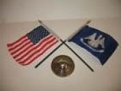 Louisiana State w/ USA America American Flag 10cm x 15cm Desk Set Table Gold Base