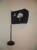 South Carolina Blue State Flag 10cm x 15cm Desk Set Table Stick Black Base