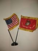 Miniature U.S. Marine Corps and American Flag Desk Set Table Stick