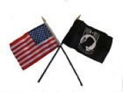 USA American w/ POW MIA Prisoner of War Flag 10cm x 15cm Desk Set Gold Base