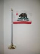 California Republic State Flag 10cm x 15cm Desk Set Table Stick Gold Base