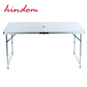 Hindom 1.2m Aluminium Portable Folding Utility able with Carrying Handle Portable Patio Table for Garden Party Camping Picnic,White