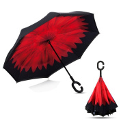Inverted Umbrella Double Layer Reverse Umbrella Windproof UV Protection Self-Standing C-Shape Handle for Car Rain Outdoor Use