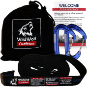 #1 PRO Hammock Straps w/ 2 Carabiners - Wild Wolf Outfitters - 20' Max Distance, Effortless One-Minute Setup in All Types of Terrain - Heavy Duty XL Tree Strap Set Compatible with all Hammocks.