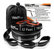 XL Hammock Tree Straps - Wolfyok Hammock Straps Set of 2000+ LBS with 40 Loops, Total 7.3m Extra Long, Non-Stretch Suspension Strap System for Camping Hammock, Includes 2 Aluminium Carabiner Hooks