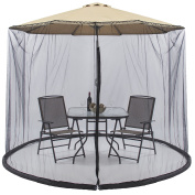 Best Choice Products Outdoor 2.7m Patio Umbrella Screen- Black