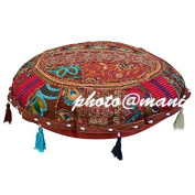 Maniona Crafts - 80cm Round Brown Patchwork Decorative Floor Cushion Seating Pillow Throw Pouffe Cover Bohemian