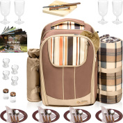 Picnic Backpack Basket Wine Cooler . All-in-One Portable Picnic Bag for 4 with Complete Tableware Set, Waterproof Fleece Picnic Blanket & Detachable Insulated Cooler, Perfect for Family Picnic