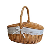 RURALITY Wicker Picnic Basket Hamper with Lid and Handle