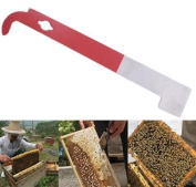 EatingBiting(R)Beekeeping Tool J Shape Red Curved Tail Bee Hive Hook Scraper Stainless Steel /sharp edge for cutting off beeswax as a scraper / beekeeping equipment tool with a hanging hole