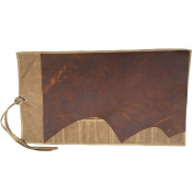Handmade Waxed Canvas All Purpose Knife Roll Bag Pouch (8 pockets) with Leather Cover Flap & Wrap String HGJ03-C