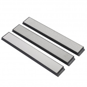 Jewboer 3PCS Silver Kitchen Knife Sharpener Sharpening Stone Diamond Whetstone Set