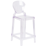 Flash Furniture Ghost Counter Stool in Transparent Crystal with Tear Back