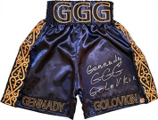 """Gennady """"GGG"""" Golovkin Signed Navy & Gold Boxing Trunks - Autographed Boxing Robes and Trunks"""