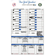 Yankees At Oakland 6-17-2017 Game Used Lineup Card Jc081010