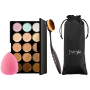 JewelryWe 15 Colours Makeup Cosmetic Contour Concealer Palette Kit with Blender Sponge+Make Up Oval Toothbrush Brush