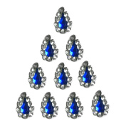 Forehead Crystal Jewellry TEAR DROP Bindis 10 BLUE Premium Pack face Bindi Jewels reusable body jewel stick on Fancy Tattoo.