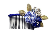 Kanzashi fabric flower hair comb Blue and White Japanese Geisha Hair Comb