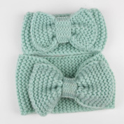 SUNBIBE 2PC Mother And Baby Hairbands Bowknot Knit Headband Crochet Hairband Headwrap