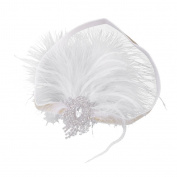 MonkeyJack Elegant Women Crystal Feather Ribbon Headband Headpiece Hair Accessories
