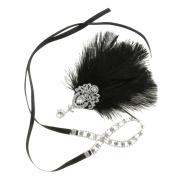 Dovewill Vintage Women Feather Crystal Headband Headpiece Party Fancy Dress