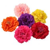 Colourful 6 Pcs Women Lady Penoy Flower Hair Clip Party Wedding Hair Decoration Brooch Beach Hair Clip Hair Pin Colour Random