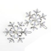 Hunulu New 2Pc Snowflake Women's Crystal Rhinestone Hair Pin Clips Barrette Hairpins