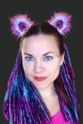 Kritter Klips Handmade Faux Fur Realistic Clip-On Animal Ears- Purple Sherbert Sequined Ears
