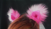 Kritter Klips Handmade Faux Fur Realistic Clip-On Animal Ears- Pink Patch Sequined Ears