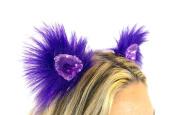 Kritter Klips Handmade Faux Fur Realistic Clip-On Animal Ears- Purple Parade Sequined Ears